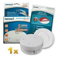 1x Nemaxx Mini-FL2 Rauchmelder - hochwertiger & diskreter Mini Brandmelder Feuermelder Rauchwarnmelder mit Lithium Batterie - nach DIN EN 14604 + Nemaxx NX1 Quickfix Befestigungspad