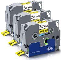 Xemax 3x Kompatible Schriftband als Ersatz für Brother TZe-641 TZ-641 TZe641 18mm TZe Tape Schwarz auf Gelb für P-Touch PT-D400 PT-9600 PT-9700 PT-P700 PT-P750W PT-D450VP PT-D600VP PT-E500VP