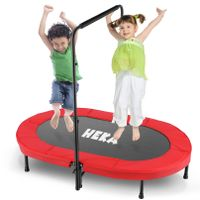 HEKA Minitrampolin für Kinder und Erwachsene, Kleinkindtrampolin mit verstellbarem Griff für 2 Kinder, faltbares Kindertrampolin für Indoor/Outdoor Workout, rot