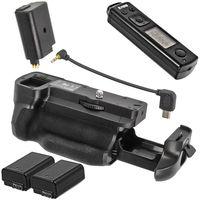 Meike Batteriegriff Vertikal Handgriff kompatibel mit Sony A6300 - inklusive 2,4 GHz Fernauslöser mit Timer- und Intervall-Funktion - MK-A6300 Pro + 2x NP-FW50 Nachbau Akkus 700mAh