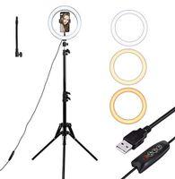 "Profi 8"" LED Ringlicht Dimmbar Ringleuchte Lampe Fotolampe Selfie USB+1,2m Stativ 120 Grad"