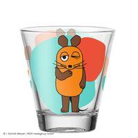 LEONARDO 021418 Bambini Die Maus Kinderbecher Motiv Maus, Glas, 215 ml, kindgerechte Form, orange/blau