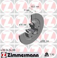 2x ZIMMERMANN HINTEN Bremsscheibe für RENAULT LAGUNA III Grandtour (KT0/1)