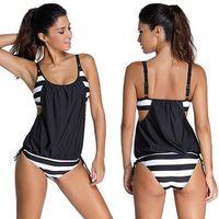 Frauen  Stripes Zweiteiliger Tankini Badeanzug Badeanzug Beach Swimwear L.