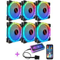 6pcs RGB Gehaeuseluefter Lüfter mit 7 Farben LED Fernbedienung CPU Cooling Fan für Gehäuselüfter PC