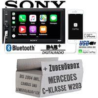 Autoradio Radio mit XAV-AX1005DB - 2DIN Bluetooth | DAB+ | Apple CarPlay  | USB - Einbauzubehör - Einbauset für Mercedes C-Klasse Radiotausch
