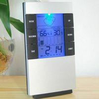 Raum-Innen-Hygrometer Digitalthermometer Hygrometer mit Leuchtanzeige Wettervorhersage-Wecker