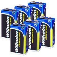 6 x Wilhelm Universal 9V Block Batterien auch für 10 Jahres Rauchmelder geeignet Longlife Blockbatterie für maximale Lebensdauer 6LR61 9 Volt