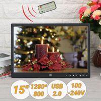 "15"" TFT LED Digitaler Bilderrahmen Fotorahmen 1280 * 800 HD Mit Fernbedienung USB 2.0 100-240V"