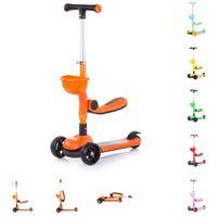 Farbe:orange mit 3 R/ädern Licht Korb Bremse H/öhe einstellbar Chipolino Kinderroller Disco