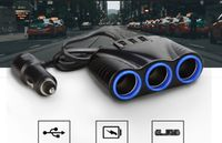 KFZ 3-Fach Zigarettenanzünder Verteiler 12/24V Auto Ladegerät Adapter Mit 3 USB