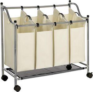 SONGMICS Wäschekorb mit 4 Fächern beige 140 L faltbar Eisengetsell 4 ×35 L Wäschesortierer Wäschebox Wäschewagen Wäschesammler aus Polyester LSF005S