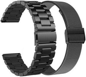 Ersatz für Samsung Galaxy Watch 46mm/Gear S3 Frontier/Classic Armband, 22mm Solide Edelstahl Uhrenarmband Mesh Metall Armband Business Ersatzband für Huawei Watch GT/Watch GT 2 46mm, Schwarz