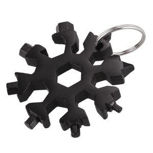 18 in 1 Edelstahl Schneeflocke Multi-Tool Schlüsselanhänger Schwarz 64mm
