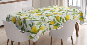 ABAKUHAUS Natur Tischdecke, Zitrone Woody Romantisch, Für den Inn und Outdoor Bereich geeignet Waschbar Druck Klar Kein Verblassen, 140 x 200 cm, Farngrün Gelb Weiß