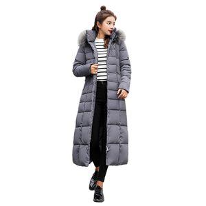 Damen Oberbekleidung Pelz Kapuzenmantel Lange Baumwolle gepolsterte Jacken Taschenmäntel Größe:XXXL,Farbe:Grau