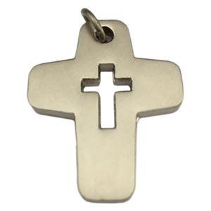 Kreuz Anhänger mit Durchbruchmotiv Kreuz, Edelstahl Aluminium silber-farben 3,4cm
