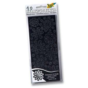 Folia Relief Sticker Ganzjahr, 10 Blatt, 10 x 24 cm, schwarz/weiß (1 Stück)