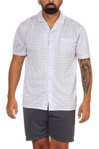 Herren Pyjama Short & Tshirt Schlaf-Anzug, Graublau XL