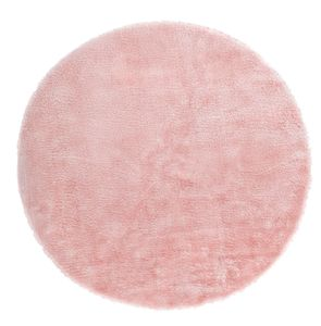 Fell-Teppich rund 120 cm Fellimitat Teppich aus Kunstfell weich kurzflor Rosa