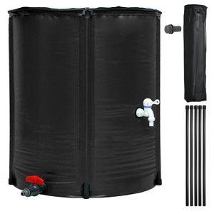 ECD Germany Regenwassertonne faltbar 200 L mit Hahn - ?60 x 70 cm aus PVC Schwarz - Regentonne Wassertonne Regenwassertank Regenwasserfass Wassertank Regentank Regenfass Wasserspeicher Tank Zisterne