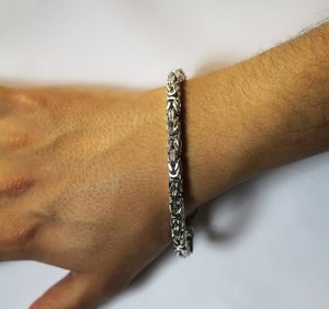 Königskette 6mm Königsarmband Silberkette Herrrenkette Armband 3/4 massiv quadratisch Silber 925