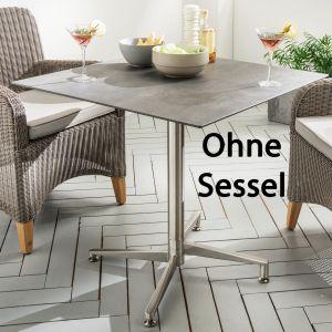 Destiny Tisch Loft Gartentisch 80 x 80 Edelstahl HPL Platte Gastrotisch Esstisch - Ohne Sessel -