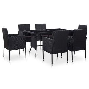 Huicheng Poly Rattan 7-tlg. Garten Essgruppe Sitzgruppe Esstischgruppe mit 6 Rattansessel + Glasplatte Tisch + Auflagen Schwarz