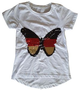 THREE OAKS Schmetterling-Shirt niedliches Kinder Kurzarm T-Shirt mit Pailletten Weiß, Größe:152
