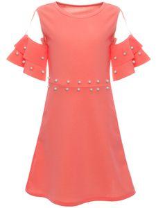 BEZLIT Mädchen Sommer Kleid mit Kunstperlen Lachs 104
