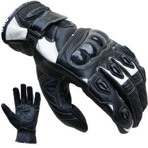Motorradhandschuhe Leder kurz weiß von PROANTI® - Größe XL