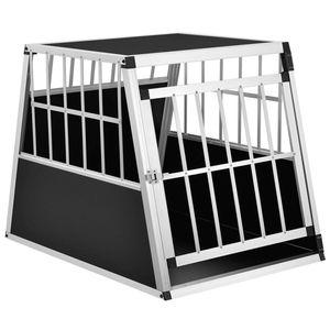 Juskys Alu Hundetransportbox L-X - 65 × 91 × 69 cm – Auto Hundebox robust & pflegeleicht – Gittertür verschließbar - Aluminium Reisebox für Hunde
