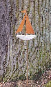 Gartenstab Beestab Rankstab Segelboot Eisen Rost Holz 80 cm