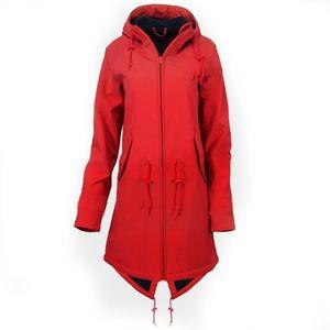 Frauen Solid Rain Jacke Outdoor Hoodie Wasserdichter Mantel Winddichter langer Mantel Größe:XXXL,Farbe:Rot