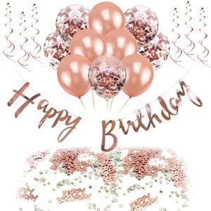 Oblique Unique Happy Birthday Geburtstag Party Deko Set - Girlande Ballons Konfetti uvm. roségold