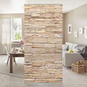 Raumteiler - Asian Stonewall - Große helle Steinmauer aus wohnlichen Steinen 250x120cm, Aufhängung:inkl. transparenter Halterung