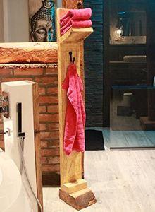 Holz Handtuchhalter Handtuchregal Freistehend 1 Ablage + 1 Haken
