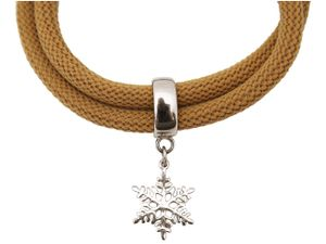 Damen Armband Wickelarmband 925 Silber Schneeflocke Braun