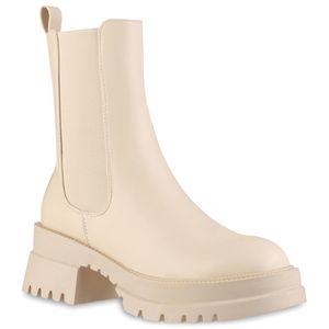 VAN HILL Damen Leicht Gefütterte Plateau Boots Profil-Sohle Schuhe 837843, Farbe: Beige, Größe: 39