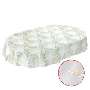 Laube Blätter Grün Oval 180x140cm Wachstuch Tischdecke