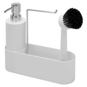 bremermann Spülbecken-Set // Spülutensilienhalter // inkl. Spender 350ml , Spülbürste und Tuchhalter, mit Ersatzbürstenkopf und Pumpe, weiß