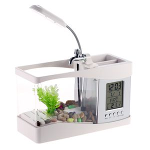 Anself LCD Fish Tank Aquarium Komplettset, Mini Aquarium , Aquarium,Weiß