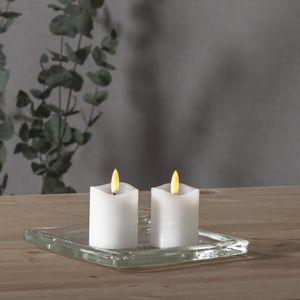LED Stumpenkerze 'Flamme' - Echtwachs - warmweiße Flamme - H: 7,5cm - Batterie inkl.-Timer - 2er Set