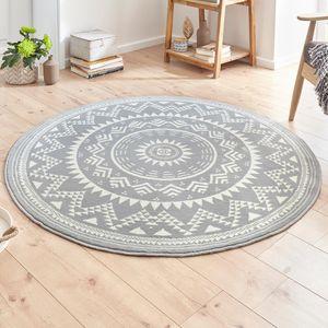 Designer Velours Teppich Valencia Grau Creme Rund, Größe:140 cm rund