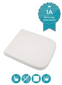 Calmwaters® Antibakterieller WC Sitz für Keramag Renova Nr. 1 Plan 202150 & 202160, Toilettensitz mit Absenkautomatik, Duroplast Klositz, Toilettendeckel abnehmbar, überlappend, Weiß, 26LP3461