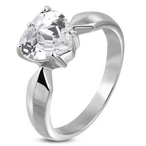 Verlobungsring Zirkonia Stein Herz-Form Damen-Ring Solitär-Ring Edelstahl Autiga® silber 59 - Ø 18,78 mm