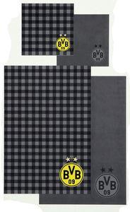 BVB Borussia Dortmund Wende-Bettwäsche karriert 155x220cm