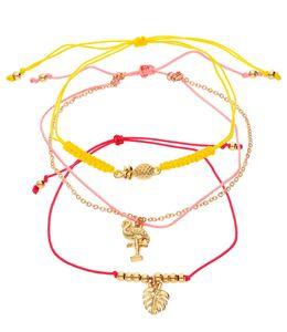 Set aus Gliederarmband, Textilarmband mit Ananas-Motiv, Blatt-Motiv, Flamingo-Motiv SIX 613-073_SIX