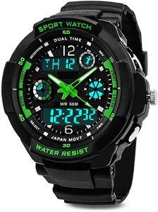 Jungen Digitaluhren, Wasserdicht Kinderuhren mit 12/24 Stunden/Dual Zeitzone/Alarm/Stoppuhr,Kinder Outdoor Sports Uhren