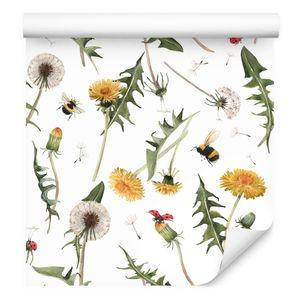 10m VLIES TAPETE Rolle Natur Blumen Pusteblumen Gänsedistel Bienen XXL